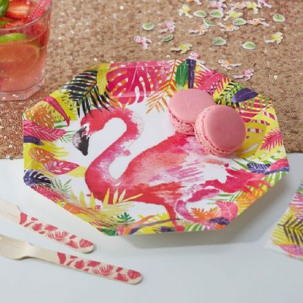 Pink Flamingo Paper Plates - pack of 8